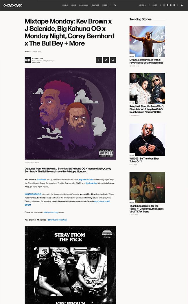 music blog web design article page