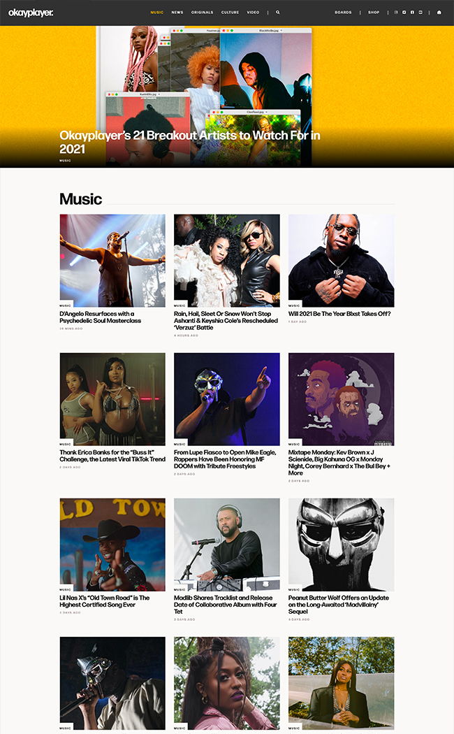 music blog web design news category page