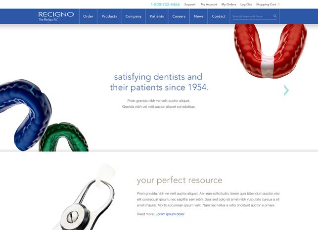 Dental Prosthetics Website Design Homepage