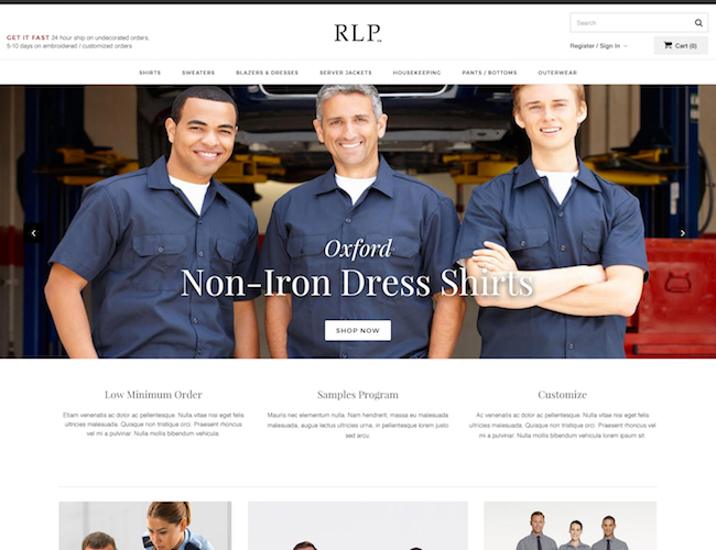 ecommerce website design homepage
