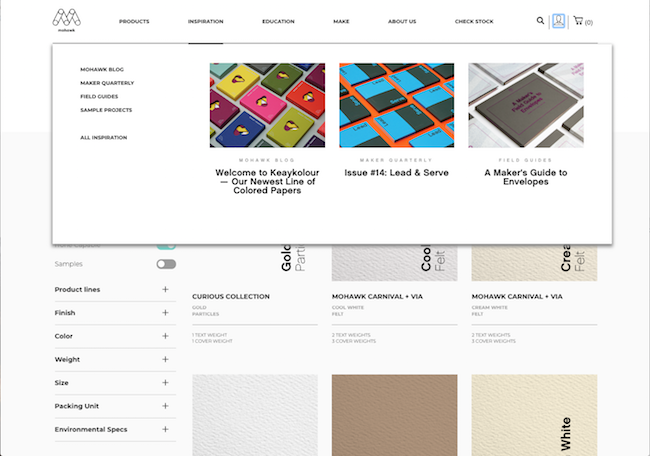 ecommerce website design menu