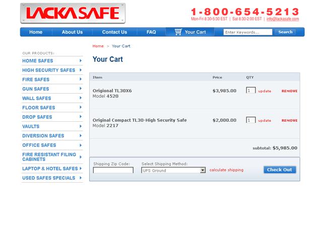 ecommerce website design shopping cart