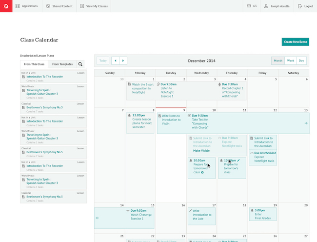 education web design calendar