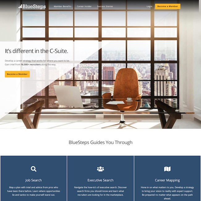 executive search company homepage web design