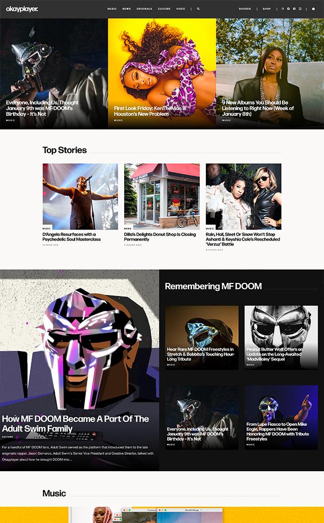 music blog web design home page