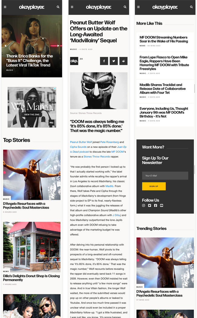 music blog news website mobile design