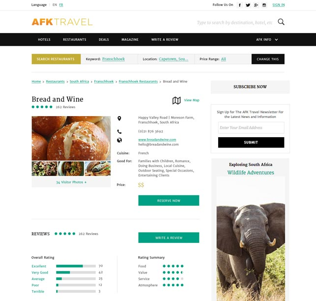 new york website design for travel company resturant finder